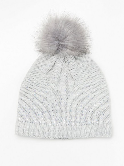 Cap with sequins and pom pom Grey
