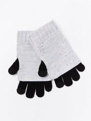 Dvojité rukavice sflitry Šedivá