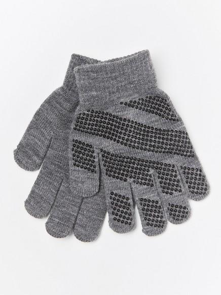 Fine-knit gloves with rubber antislip palms Grey