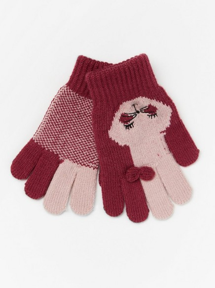 Pink gloves with rabbits Red