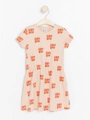 Patterned short sleeve jersey dress Pink