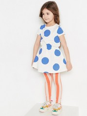 Patterned short sleeve jersey dress Blue