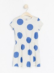 Patterned short sleeve jersey dress Blue