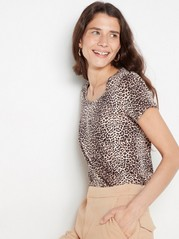 Patterned cotton top  Beige
