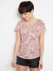 Patterned cotton top  Coral