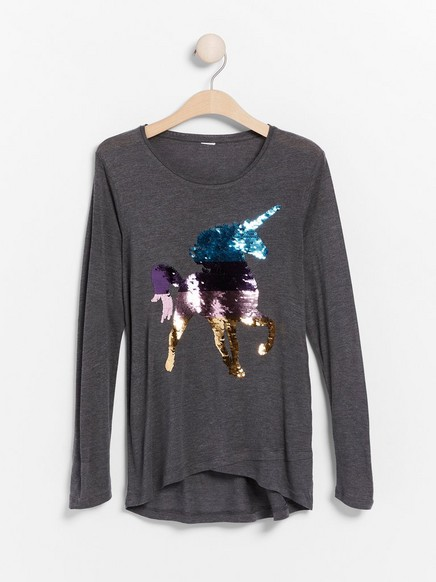 Top in lyocell with reversible sequins Grey