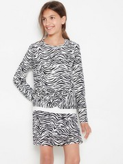 Patterned long sleeve lyocell top with twisted front detail White