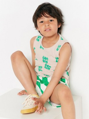 Tank top with green print Pink