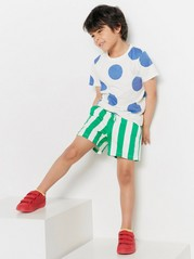 Patterned sweatshirt shorts Green