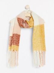 Rutig bred stickad halsduk med fransar Rosa