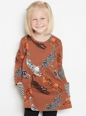 Jersey tunic with cats Brown