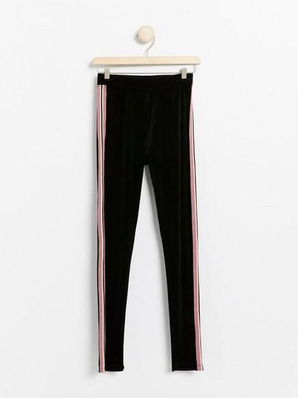 Black velvet leggings with glittery side stripes Black