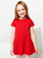 Short sleeve jersey tunic with flounce Red