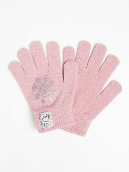 Ohuet Frozen-hanskat, joissa kimaltava lumihiutale Vaaleanpunainen