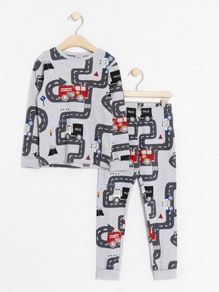 Pyjamas med räddningsfordon Grå