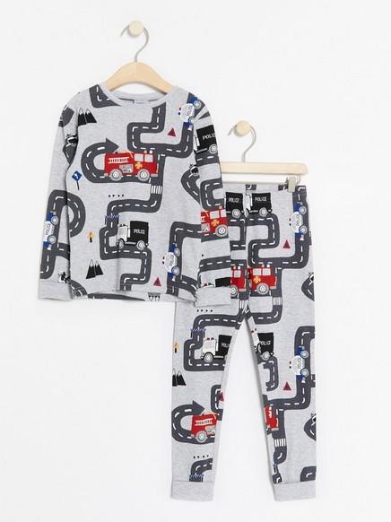 Pyjamas med redningskjøretøy Grå