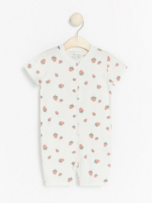 Pyjamas med jordbærtrykk Hvit