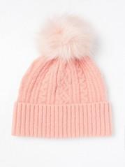 Pletená čepice sbambulí Růžová