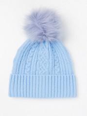 Pletená čepice sbambulí Modrá