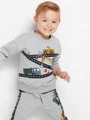 Oversized grey sweatshirt with vehicle print Grey