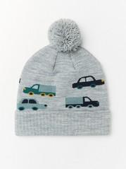 Grå strikkelue med biler og pompong Grå