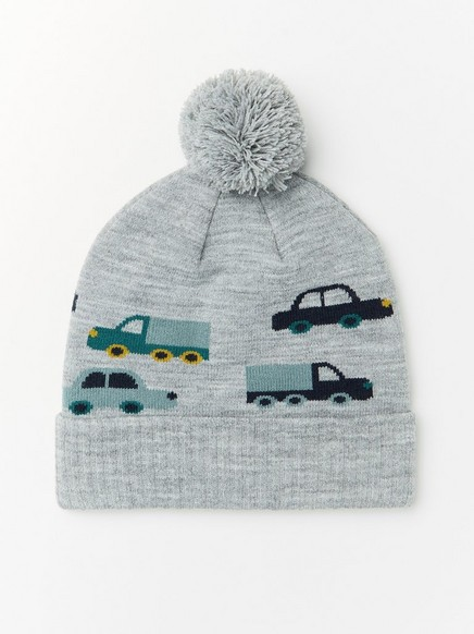 Knitted grey cap with cars and pompom Grey