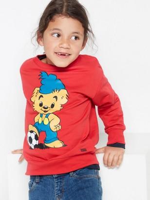 Oversize röd sweatshirt med Bamse-tryck Röd