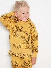 Oversized yellow hooded sweatshirt with tigers Yellow