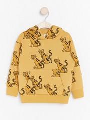 Oversized yellow hooded sweatshirt with tigers Yellow