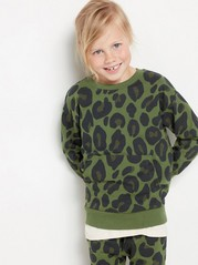 Oversized green sweatshirt with leopard print Khaki