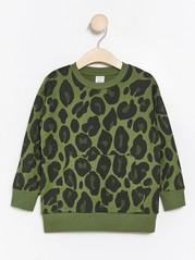 Oversize grön sweatshirt med leopardmönster Khaki