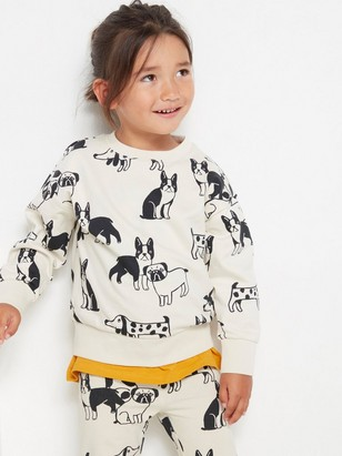 Oversized sweater with dog print Beige
