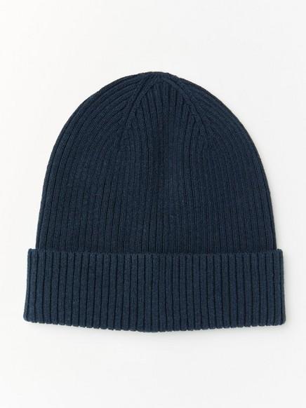 Rib knit cap Blue