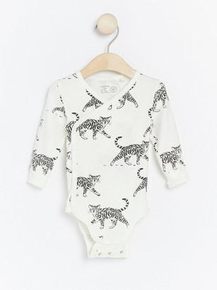 Wrap bodysuit with animal pattern White