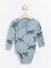 Wrap bodysuit with animal pattern Blue