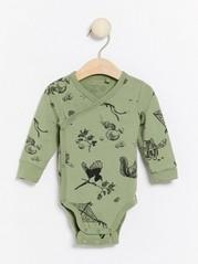 Wrap bodysuit with animal pattern Green