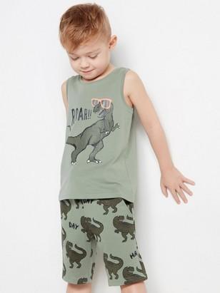 Tank top with dinosaur print Khaki