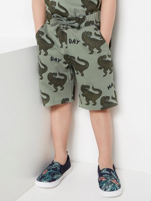 Green sweatshirt shorts with dinosaurs Khaki