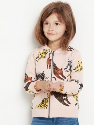 Pink soft bomber jacket with cats Pink