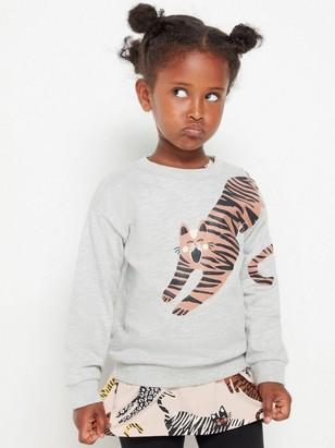Grå sweatshirt med katt-tryck Grå