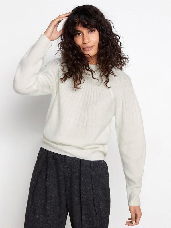 Hvit Strikket genser med falsk hals 149,50 | Lindex
