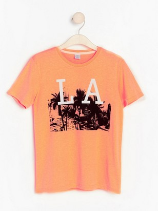Neon orange t-shirt with print Coral