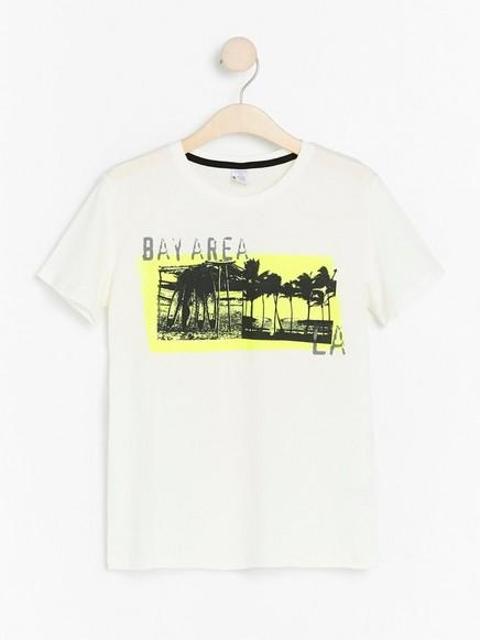 Kortermet T-skjorte med trykk Hvit