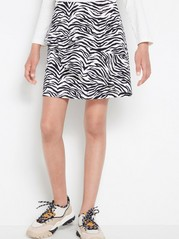 Zebra striped skirt with flounce White