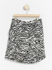 Zebra striped skirt with flounce White