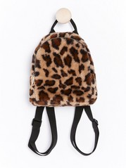 Small backpack with leo fake fur Brown