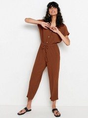 Jumpsuit with cropped legs  Brown