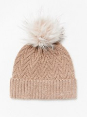 Pletená čepice sbambulí Běžová