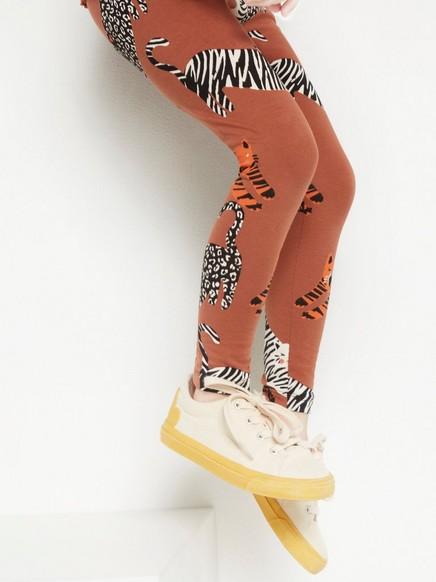 Ruskeat leggingsit, jossa kissakuvio Ruskea