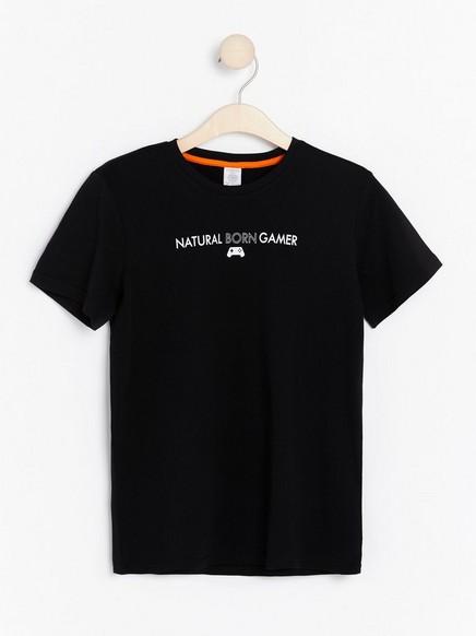 T-paita, jossa painatus ja lyhyet hihat Musta